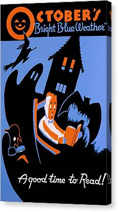 Vintage Poster - Reading - October Canvas Print by Benjamin Yeager