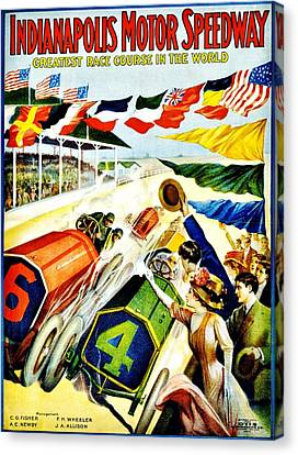 Vintage Poster - Sports - Indy 500 Canvas Print by Benjamin Yeager