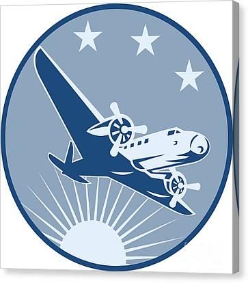 Vintage Propeller Airplane Retro Canvas Print by Aloysius Patrimonio