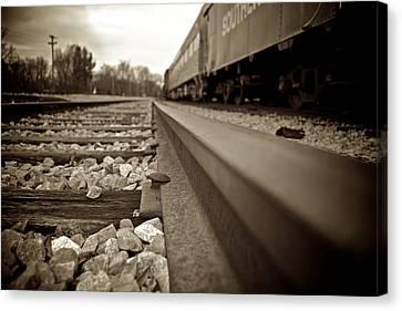 Vintage Railroad Tracks Low Angle Canvas Print by Berkehaus Photography