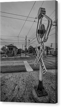 Vintage Railway Crossing Canvas Print by Mike Burgquist