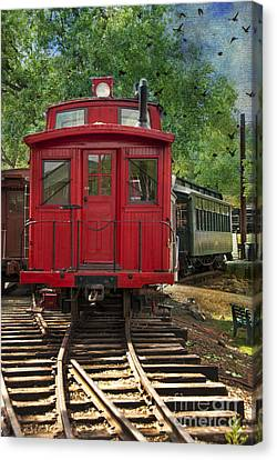 Vintage Red Train Canvas Print by Juli Scalzi