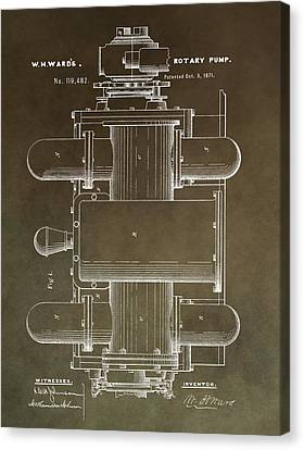Vintage Rotary Pump Patent Canvas Print by Dan Sproul