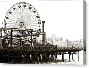 Vintage Santa Monica Pier Canvas Print by John Rizzuto