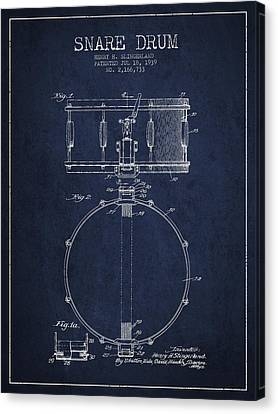 Snare Drum Patent Drawing From 1939 - Blue Canvas Print by Aged Pixel