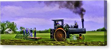 Vintage Steam Engine Case 110 Hp Pulling 12 Bottom Plow Canvas Print by F Leblanc