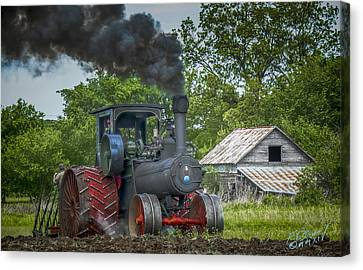 Vintage Steam Tractor Canvas Print by F Leblanc