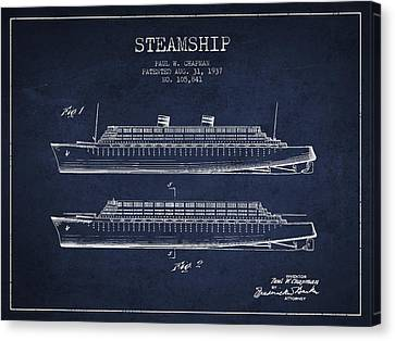 Vintage Steamship Patent From 1937 Canvas Print by Aged Pixel