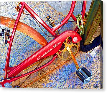 Vintage Street Bicycle Photo Detail Canvas Print by Tony Rubino