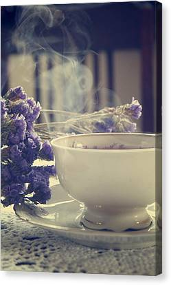 Vintage Tea Set With Purple Flowers Canvas Print by Cambion Art