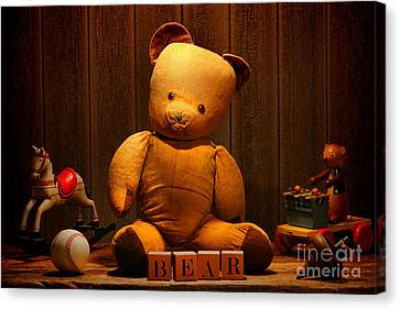 Vintage Teddy Bear And Toys Canvas Print by Olivier Le Queinec
