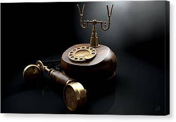 Vintage Telephone Dark Off The Hook Canvas Print by Allan Swart