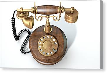 Vintage Telephone Isolated Canvas Print by Allan Swart