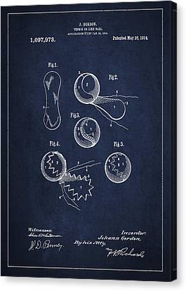 Vintage Tennis Ball Patent Drawing From 1914 Canvas Print by Aged Pixel