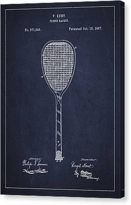 Vintage Tennnis Racket Patent Drawing From 1887-navy Blue Canvas Print by Aged Pixel