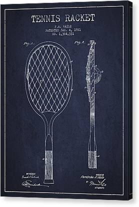 Vintage Tennnis Racket Patent Drawing From 1921 - Navy Blue Canvas Print by Aged Pixel