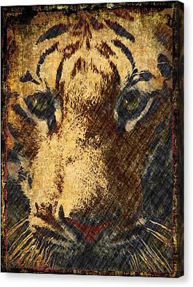 Vintage Tiger Confrontation Canvas Print by Georgiana Romanovna