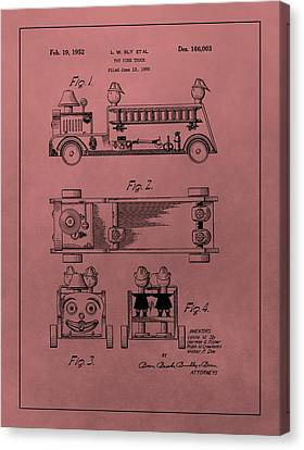 Vintage Toy Fire Truck Patent Canvas Print by Dan Sproul