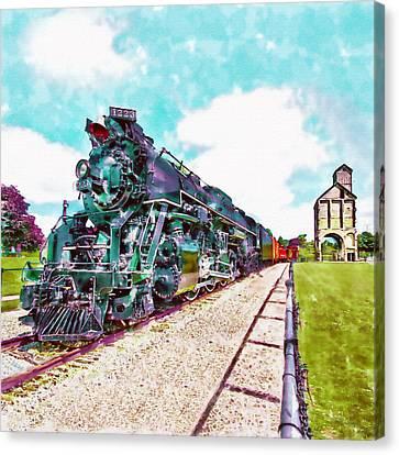 Vintage Train Watercolor Canvas Print by Marian Voicu