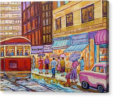 Vintage Tram Car-montreal Downtown Scene-classic Chevy Car Canvas Print by Carole Spandau
