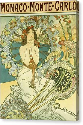 Vintage Travel Poster For Monaco Monte Carlo Canvas Print by Alphonse Marie Mucha
