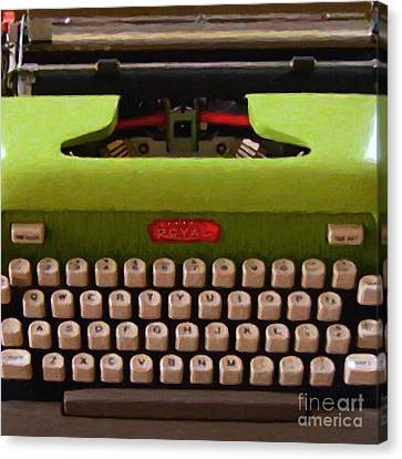 Vintage Typewriter - Painterly - Square Canvas Print by Wingsdomain Art and Photography