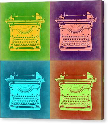 Vintage Typewriter Pop Art 1 Canvas Print by Naxart Studio
