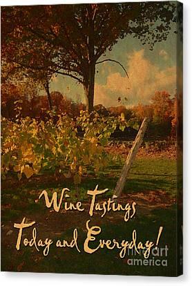 Vintage Wine Tasting Poster Canvas Print by John Turek