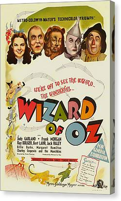 Vintage Wizard Of Oz Movie Poster 1939 Canvas Print by Mountain Dreams