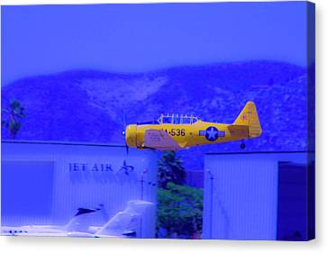 Vintage Yellow Airplane Canvas Print by Terry Thomas