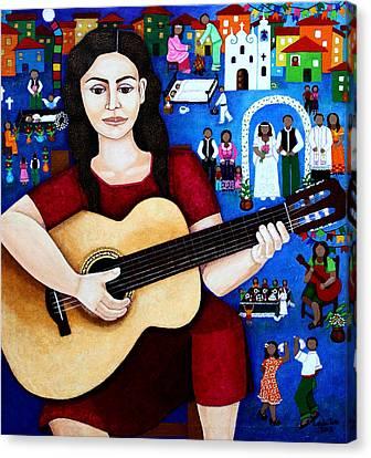 Violeta Parra And The Song Black Wedding Canvas Print by Madalena Lobao-Tello