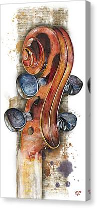 Violin 02 Elena Yakubovich Canvas Print by Elena Yakubovich