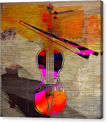 Violin And Bow Canvas Print by Marvin Blaine