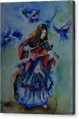Violin Music For Birds Canvas Print by Isabel Salvador