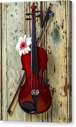 Violin On Old Door Canvas Print by Garry Gay