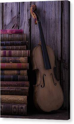 Violin With Old Books Canvas Print by Garry Gay