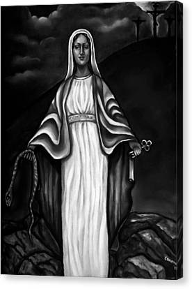Virgen Mary In Black And White Canvas Print by Carmen Cordova