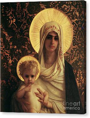 Virgin And Child Canvas Print by Antoine Auguste Ernest Herbert
