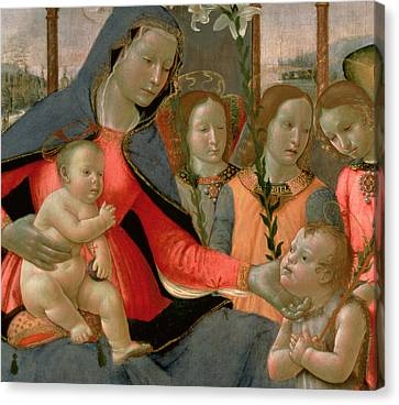 Virgin And Child With St John The Baptist And The Three Archangels Canvas Print by Bastiano Mainardi