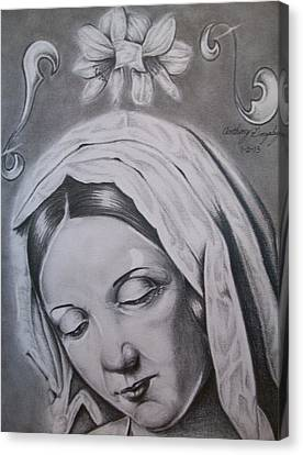 Virgin Mary Canvas Print by Anthony Gonzalez