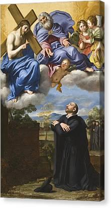 Vision Of Christ And God Canvas Print by Domenico Zampieri