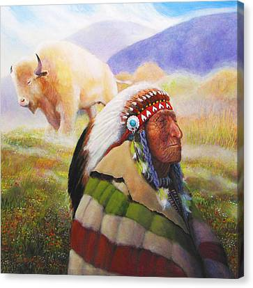 Visions Of The Sacred White Buffalo Canvas Print by Charles Wallis