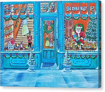 Visit To The Toy Shop Santa Canvas Print by Gordon Wendling