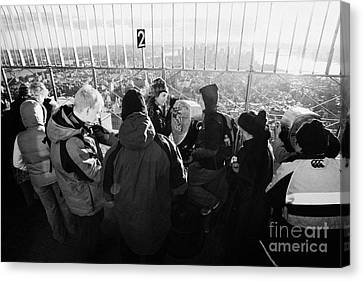 Visitors On Observation Deck Of The Empire State Building New York City Usa Canvas Print by Joe Fox