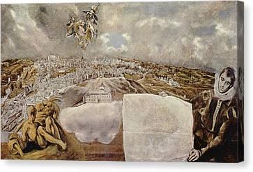 Vista De Toledo - The View Of Toledo Canvas Print by Celestial Images