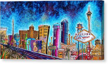 Viva Las Vegas A Fun And Funky Pop Art Painting Of The Vegas Skyline And Sign By Megan Duncanson Canvas Print by Megan Duncanson