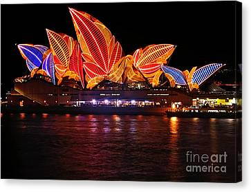 Vivid Sydney By Kaye Menner - Opera House ... Leaves Canvas Print by Kaye Menner