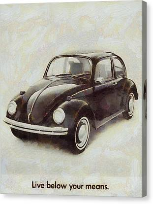 Volkswagen Beetle Live Below Your Means Canvas Print by Dan Sproul