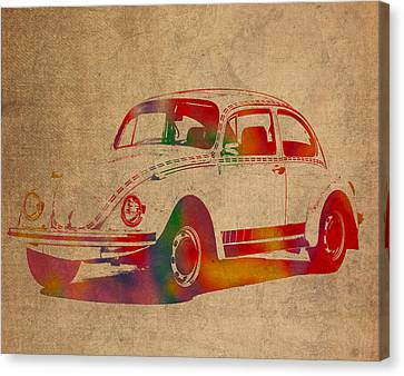 Volkswagen Beetle Vintage Watercolor Portrait On Worn Distressed Canvas Canvas Print by Design Turnpike