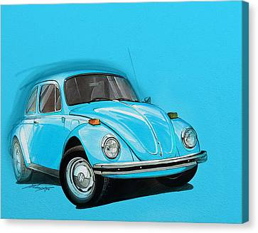 Volkswagen Beetle Vw Blue Canvas Print by Etienne Carignan